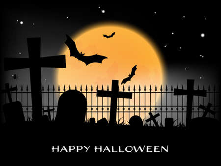 Halloween background with graveyard and Happy Halloween text.