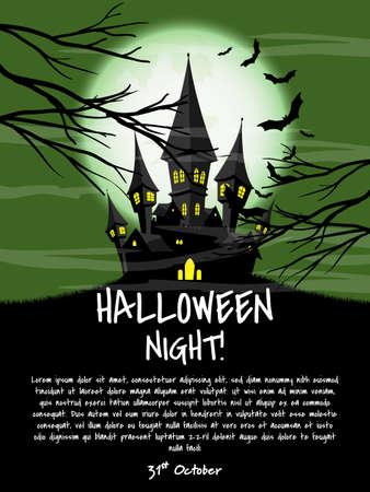 Halloween background with Halloween Night! text. Ilustração