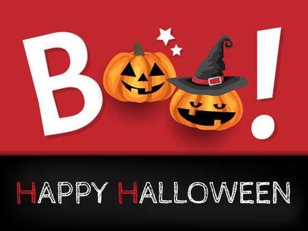Halloween background with halloween pumpkins and Boo! text. Ilustração