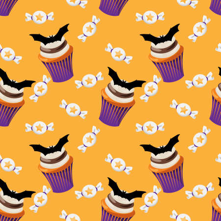 Halloween Sweets Seamless Pattern. Colorful Halloween sweets background.
