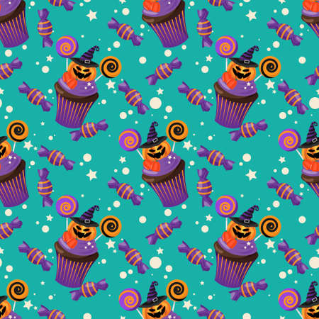 Halloween Sweets Seamless Pattern. Colorful Halloween sweets background. 向量圖像