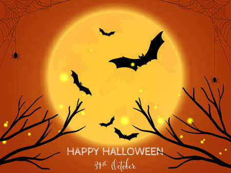Halloween background with tree branches, bats with full moon and Happy Halloween text. Invitation to party or greeting card.