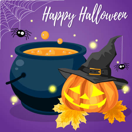 Halloween background with Halloween elements and Happy Halloween text. Invitation to party or greeting card. Ilustração