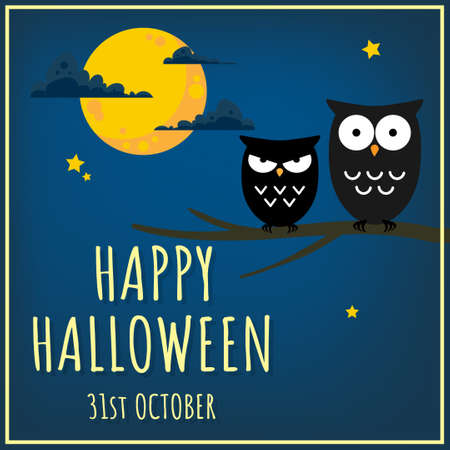 Halloween background with cute owl and Happy Halloween 31st October text.