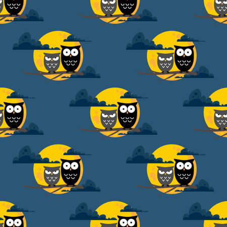 Halloween seamless pattern with cute owls and full moon. 矢量图像