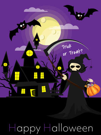 Halloween background with grim reaper with scythe and Happy Halloween text. Vettoriali