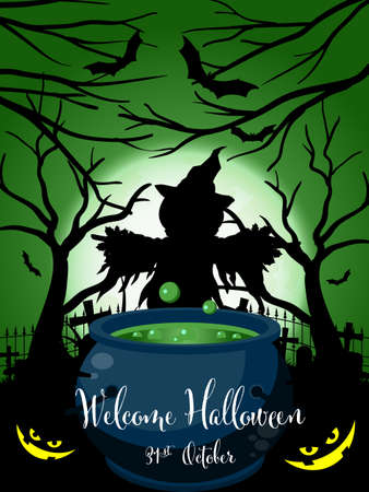 Halloween background with scarecrow in graveyard with witchs pot and Welcome Halloween text. Illustration