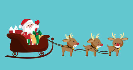 Santa claus in a sleigh with cute reindeer.