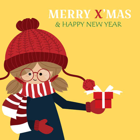Christmas holiday season background with Cute girl in winter custom with giftbox and MERRY XMAS & HAPPY NEW YEAR text.