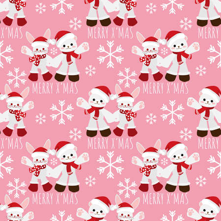 Cute rabbit and polar bear with santa hat and snowflakes seamless pattern. Cute Christmas holidays cartoon character background.