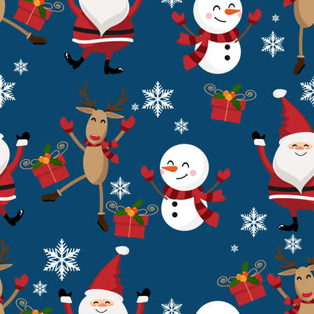 Santa claus, snowman ,snowflakes ,giftbox and reindeer seamless pattern. Cute Christmas holidays cartoon character background.