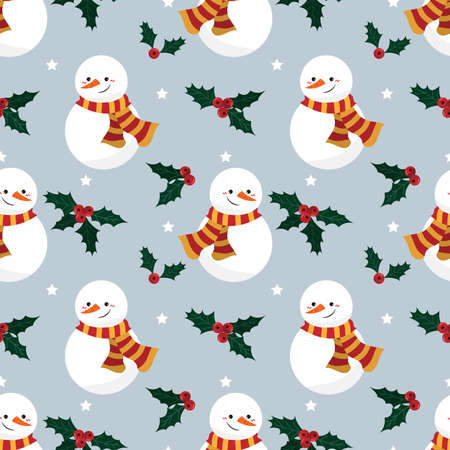 Snowman, holly berries and star seamless pattern. Cute Christmas holidays cartoon character background. Ilustracja