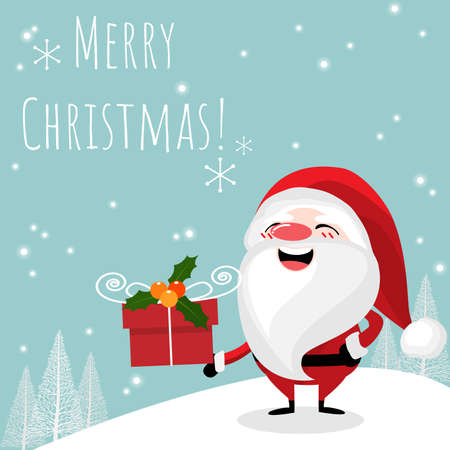 Christmas holiday season background. Santa Claus with giftbox and Merry Christmas text. Design for Xmas and New year holidays.