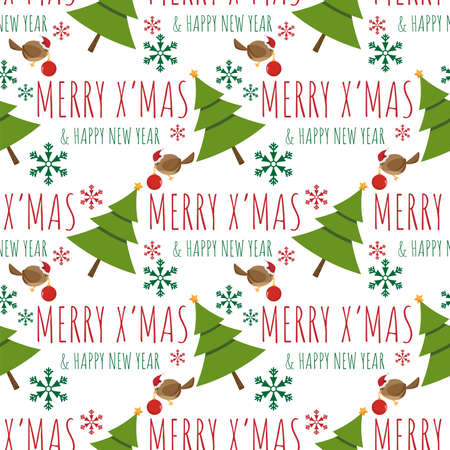 Christmas holiday season seamless pattern with A Little Bird with Christmas balls and Christmas tree. Design for greeting card or party invitation. Ilustracja