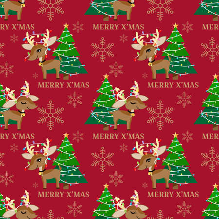 Red nose reindeer with Christmas tree seamless pattern. Cute Christmas holidays cartoon character background.