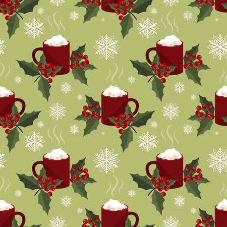 Red mug of hot chocolate with marshmallow and holly berries seamless pattern. Design for Xmas, New year or winter holidays.