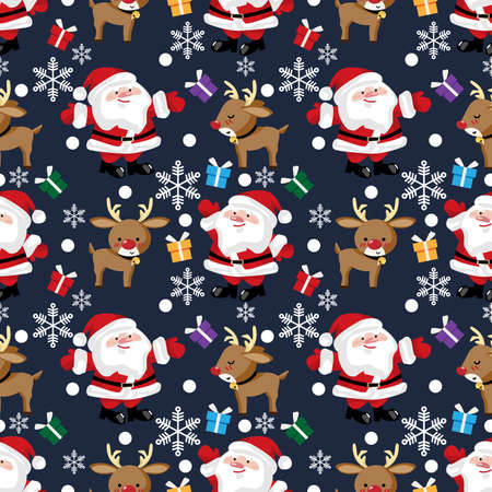 Santa claus, reindeer, snowflake and giftbox seamless pattern. Cute Christmas holidays cartoon character background.