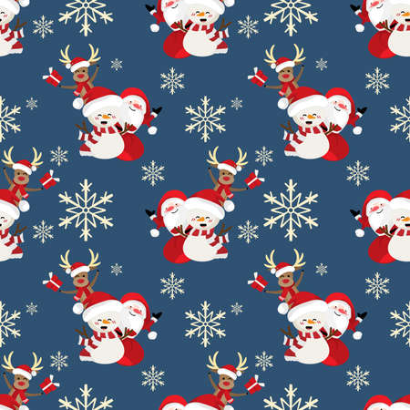 Santa claus with snow flake, snowman and reindeer seamless pattern. Cute Christmas holidays cartoon character background.