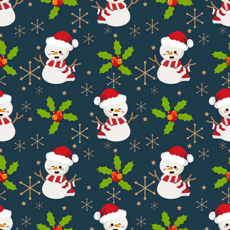 Snowman with santa hat, holly berries ,snowflakes and star seamless pattern. Cute Christmas holidays cartoon character background.