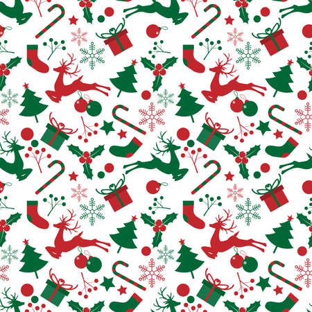 Christmas elements seamless pattern. design for happy winter holiday, Xmas and New Year.