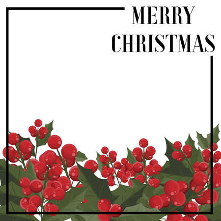 Christmas holiday season background with Holly berries branch. Xmas greeting card. Ilustracja