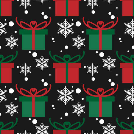 Christmas elements seamless pattern with giftbox. design for happy winter holiday, Xmas and New Year.