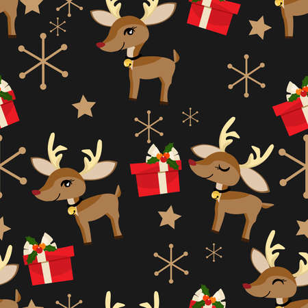 Cute Reindeer with giftbox and Merry Criistmas text seamless pattern. Cute Christmas holidays cartoon character background. Ilustracja