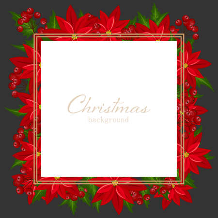 Christmas holiday season background with Red Poinsettia christmas flower and holly berries. Xmas greeting card.