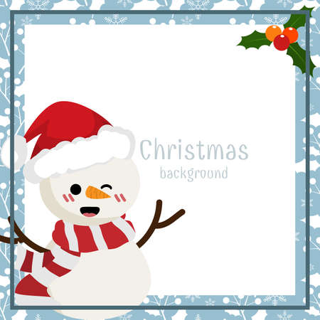 Christmas holiday season background with Snowman. Design for Xmas and New year holidays.