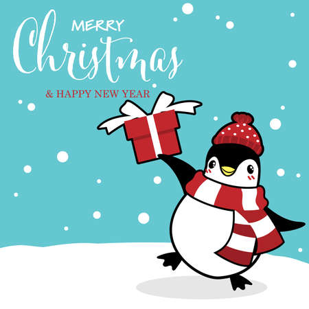 Christmas holiday season background with cute cartoon penguins in winter custom on snow hill with gift box and Merry Christmas text.