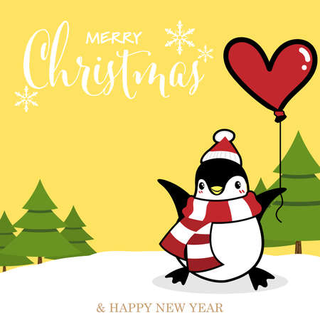 Christmas holiday season background with cute cartoon penguins in winter custom on snow hill with balloon and Merry Christmas text.