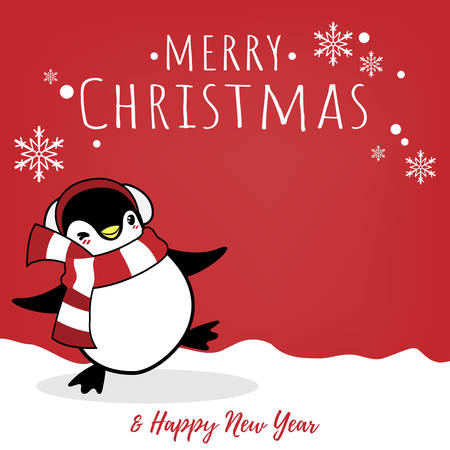 Christmas holiday season background with cute cartoon penguins in winter custom on snow hill and Merry Christmas text.