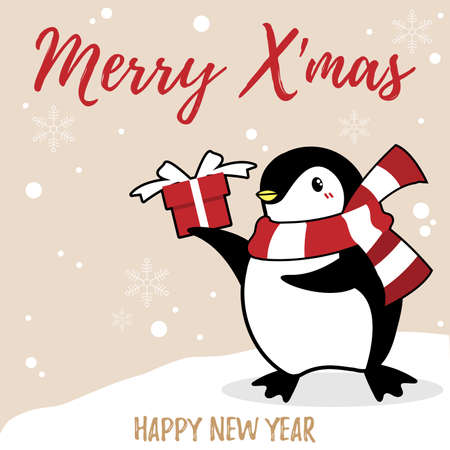 Christmas holiday season background with cute cartoon penguins in winter custom with gift box on snow hill and Merry Christmas text.