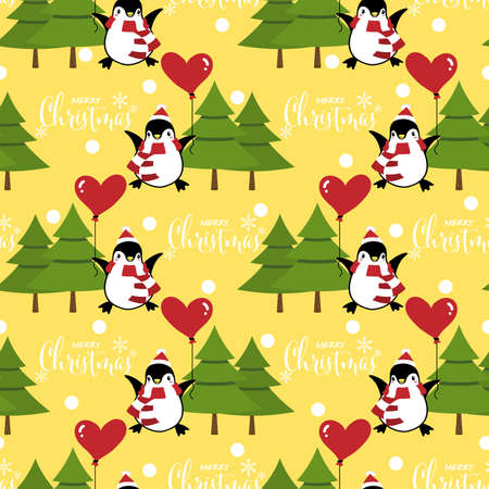 Christmas holiday season seamless pattern with cute cartoon penguins in winter custom with balloon on snow hill and Merry Christmas text.