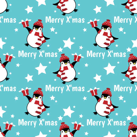 Christmas holiday season seamless pattern with cute cartoon penguins in winter custom with gift box on snow hill and Merry Christmas text.