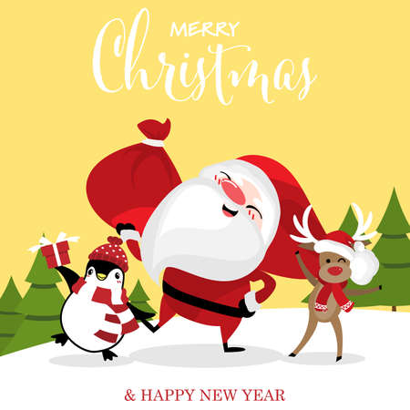Christmas cartoon of Santa Claus, reindeer and penguins on snow hill with Merry Christmas & Happy New Year text. Greeting card for Winter season.