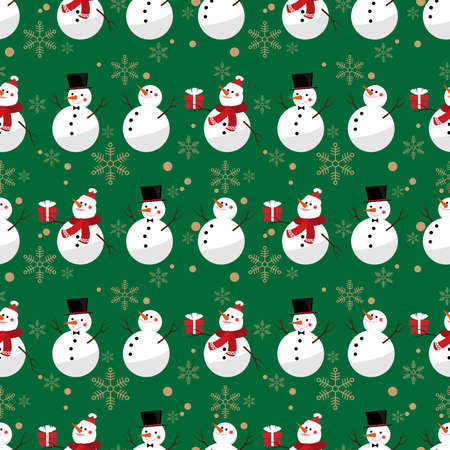 Snowman and snowflake seamless pattern. Cute Christmas holidays cartoon character background.