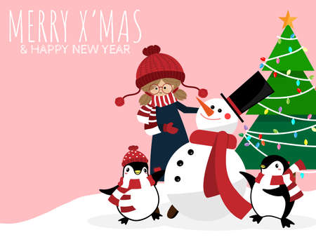 Christmas holiday season background with Cute girl in winter custom with snowman, penguins, christmas tree and MERRY XMAS & HAPPY NEW YEAR text.