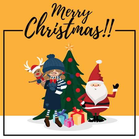 Christmas cartoon of Santa Claus, deer, giftbox and Christmason tree. For Merry Christmas greeting card. For Winter season. Happy New Year.