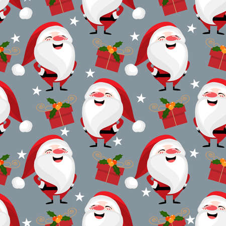 Santa claus with giftbox and star seamless pattern. Cute Christmas holidays cartoon character background. Ilustracja