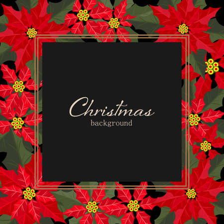 Christmas holiday season background with Red Poinsettia christmas flower. Xmas greeting card. Ilustracja