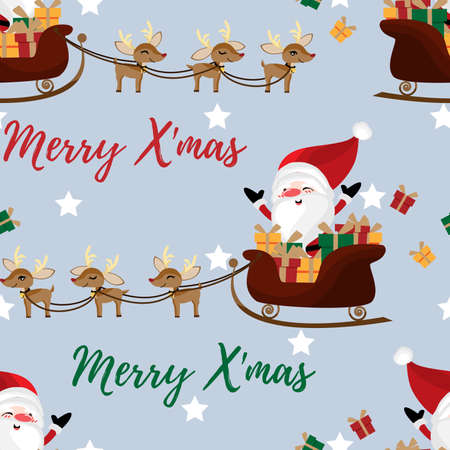 Santa claus in a sleigh with cute reindeer seamless pattern. Cute Christmas holidays cartoon character background. Ilustracja