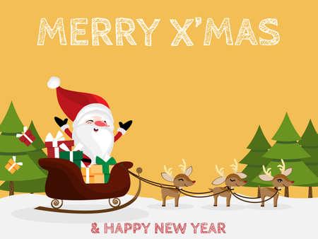 Christmas cartoon of Santa Claus, raindeer, giftbox and pine tree. For Merry Christmas greeting card. For Winter season. Happy New Year.