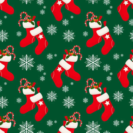 Christmas elements seamless pattern with Red sock with candy canes and holly leaves and berries ornate seamless pattern for greeting cards, wrapping papers etc.