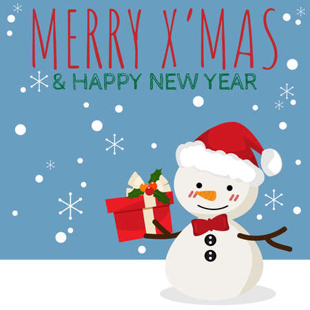 Christmas cartoon of Snowman with giftbox and MERRY XMAS & HAPPY NEW YEAR text. For Merry Christmas greeting card. For Winter season. Happy New Year.
