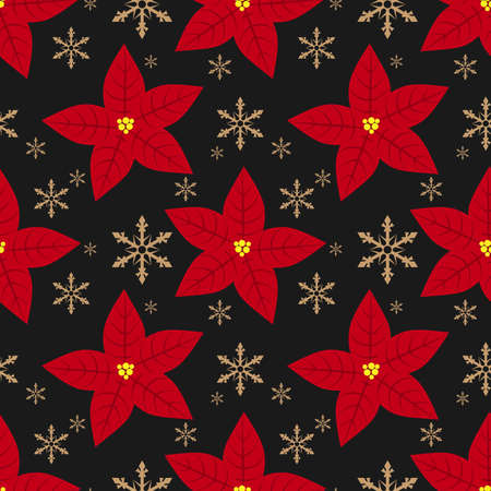 Red Poinsettia Christmas flowers with snowflakes seamless pattern. Cute Christmas holidays seamless pattern.