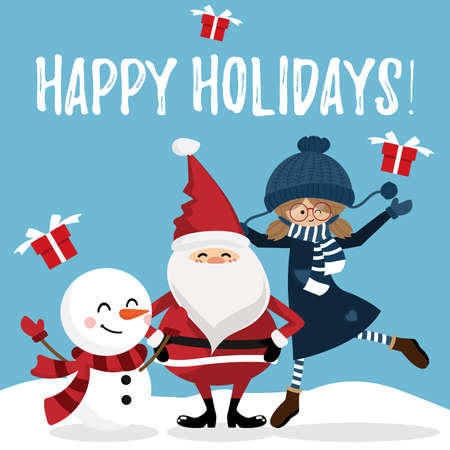 Christmas holiday season background with Santa Claus, snowman and Cute girl. For Merry Christmas greeting card. For Winter season.