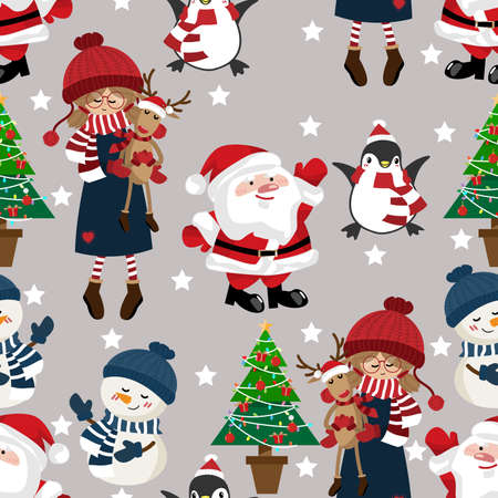 Christmas holiday season seamless pattern with Cute girl in winter custom with snowman, penguins, Christmas tree and Santa Claus. Ilustracja