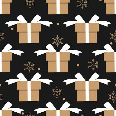 Christmas elements seamless pattern with giftbox and snowflake. design for happy winter holiday, Xmas and New Year.