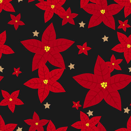 Red Poinsettia Christmas flowers and star seamless pattern. Cute Christmas holidays seamless pattern. Ilustracja